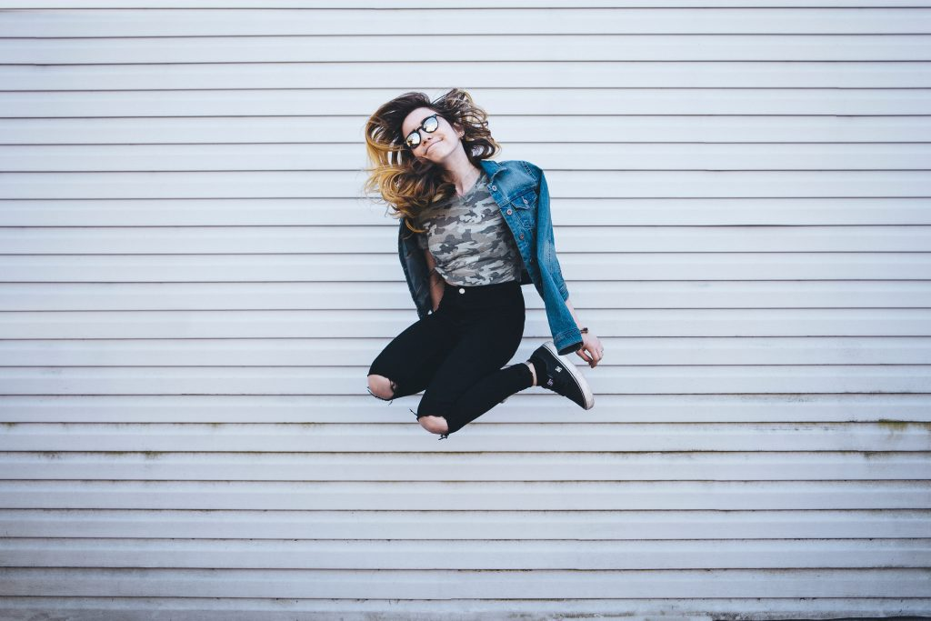 Girl Jumping White Wall Overlap Excited